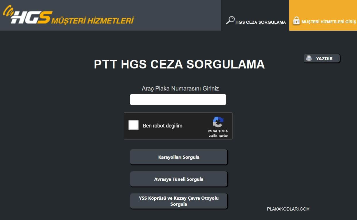 HGS CEZA SORGULAMA PTT